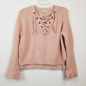 Stargaze lace up chunky knit sweater size M